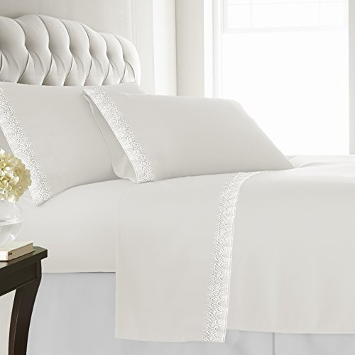 (Lauren Taylor Microfiber Sheet Set with with Beautiful Lace Hem, Full, Off- Off-White)
