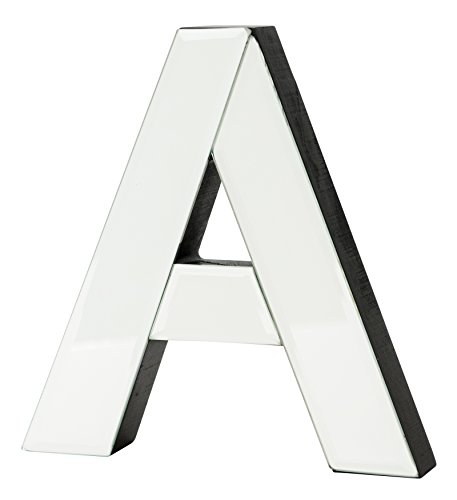 - Boston Warehouse 7-Inch Tall Mirrored Glass and Wood Decorative Letter, A