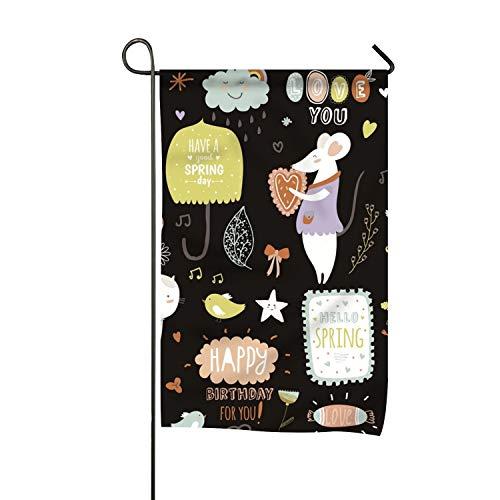 Elvira Jasper Cartoon Background -5 Clip Art Welcome Garden Flag Vertical Outdoor & Indoor -