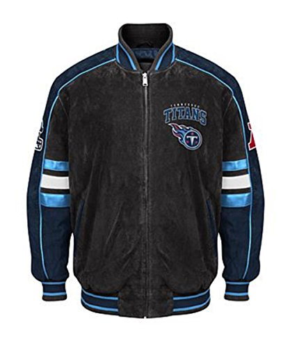 Tennessee TITANS Officially Licensed NFL Colorblocked Suede Varsity Jacket by (Tennessee Varsity Jacket)