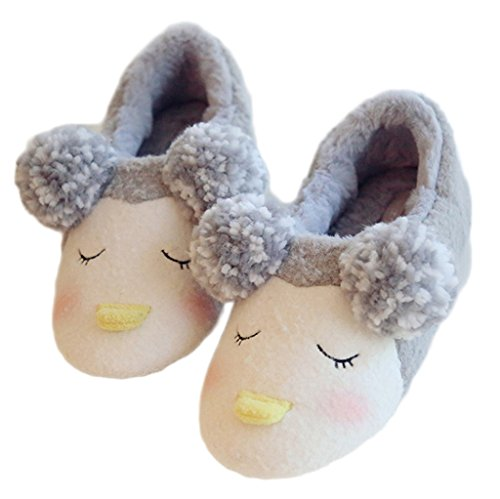 Unisex Fleece ears Lovely House with Couple Grey Ponpon Penguin Slippers Fortuning's Cozy Wrap Comfy Adults Footwear JDS FXnqB85BZ
