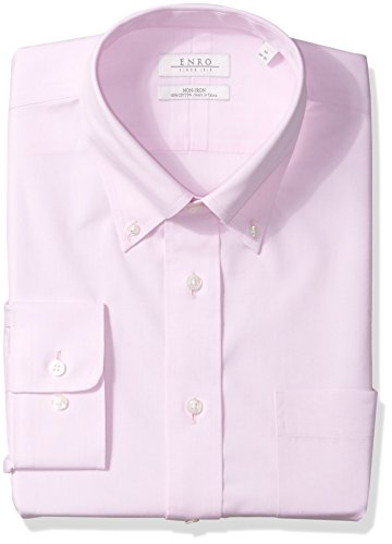 Enro Men's Non-Iron Classic Fit Pinpoint Oxford Dress Shirt, Pink, 15.5 x 32/33 ()