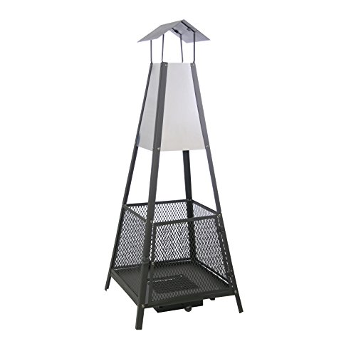 Kamino-Flam Helena Outdoor Fireplace, Pyramid Fire Pit for Garden, Steel Sheet Patio Heater with Removable Ashtray, Outdoor Chimney Log Wood Burner, approx. 50 x 50 x 130 cm, Black-silver