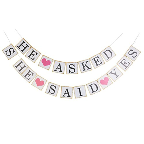 Pixnor Bunting Banner Wedding Bridal Party Decoration Photo Prop (HE ASKED SHE SAID YES)