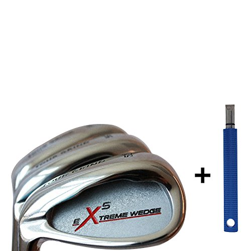 Left Handed Extreme X5 Men's Complete Golf Wedge Set: 52° Gap Wedge (GW), 56° Sand Wedge (SW), 60° Lob Wedge (LW) Regular Flex Steel Shaft. + Free Wedge Groove Sharpener (Blue) by Extreme X5