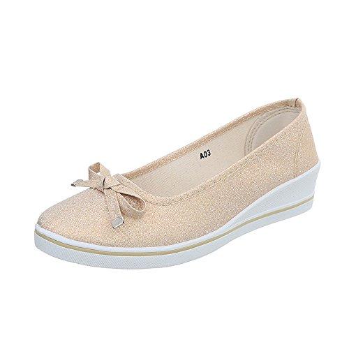 Damen Schuhe Halbschuhe Keil Wedges Slipper Beige