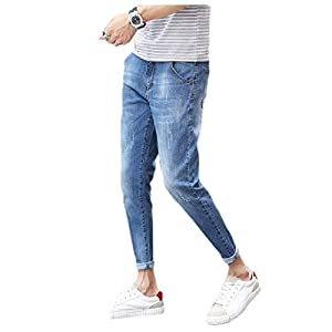 Men's Tapered Stretch Vintage Wash Simple  Jeans Pants