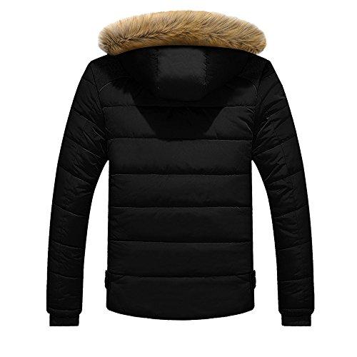 Plus D'hiver Morchan Capuchon Hommes Chaud En Manteau Plein Épais Air Fourrure Noir À Veste 7SnrznxdX