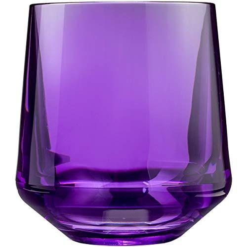 Drinique VIN-SW-PUR-4 Stemless Unbreakable Tritan Wine Glasses 12 oz (Set of 4) Purple ()