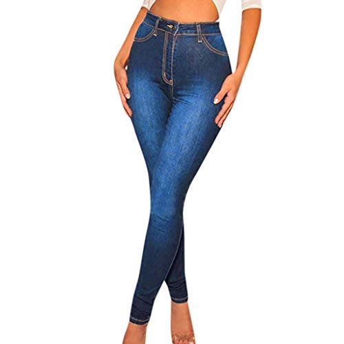 NEW Womens Elastic Waist Casual Pants High Waist Jeans Casual Blue Denim Pants
