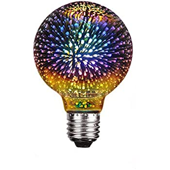 Century Light - G95 4W LED 3D Globe Fireworks Star Light Bulb,E26 Base Vintage Edison Bulb Light for Holiday Home Bar Party Decoration Glass LED Lamp