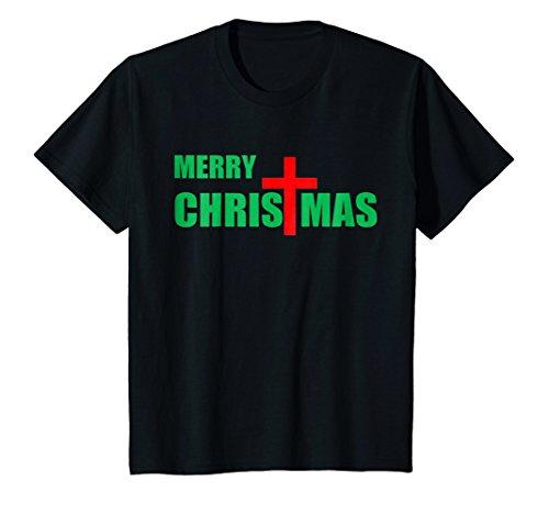 Kids Merry Christmas-Red Cross-Christian Religious- T Shirt 12 Black