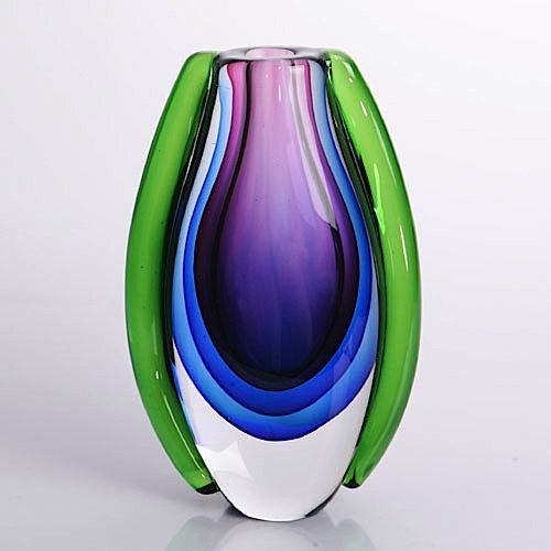 - American Chateau Hand Blown Purple, Blue, Green Sommerso Oval Art Glass Vase 8