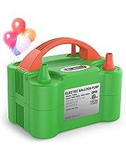 Dr.meter Ballon-Luftpumpe, Elektrische Luftballonpumpe mit Doppeldüse Inflatorgebläse Tragbare Pumpe für Party, Hochzeit, Geburtstag, Werbemaßnahmen und Festivaldekoration (Grün + Orange)