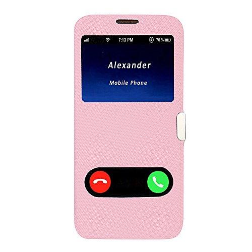Funda iPhone 6s Plus, Funda iPhone 6 Plus, MTRONX Cover Carcasa Case Caso Doble Ventana Vista Ultra Folio Flip Twill Tela Asargada PU Cuero Delgado Piel con Cierre Magnetico para Apple iPhone 6s Plus  Rosa