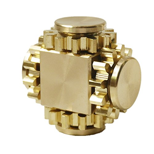 DMaos Fidget Cube Spinner, Newest Gear Robot Spin Finger Games Hand Toy Smooth Metal Brass Stainless Steel Stable Bearing Crusader Durable Mechanics Romoveable EDC High Speed - Gold