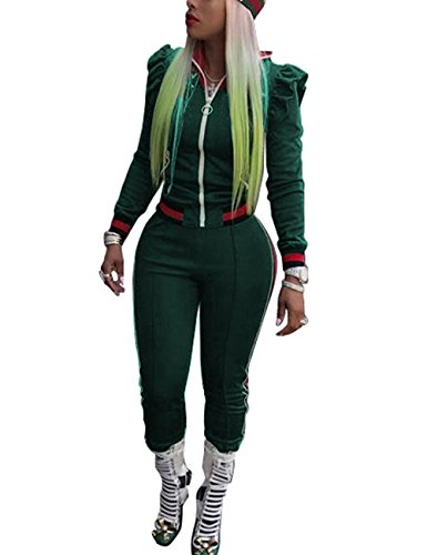 Akmipoem 2 Piece Outfits set Long Sleeve Full Zip Jacket and Skinny Long Pants Tracksuit for Women,Green,Tag M/US(4-6) (Green Tracksuit)