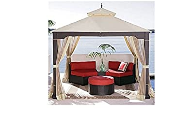 Home Garden Patio Furniture Weather-Resistant 10' x 10' Rattan Patio Gazebo With Mosquito Net