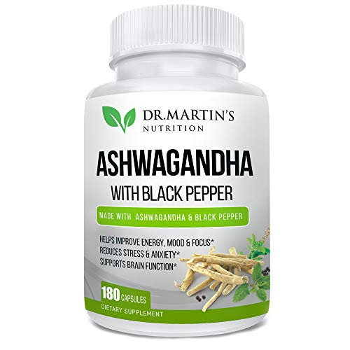 Ashwagandha 1950mg, 180 Veggie Capsules with Black Pepper. Reduces Anxiety, Stress Relief, Blood Sugar. Improves Wellness, Strength, Muscle Mass, High Dosage for Men & Women