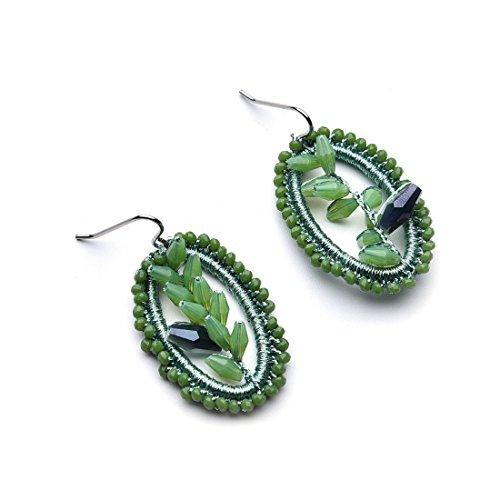 YIFEI Bohemian Decor Earrings Big Drop Handmade Woven Thread Earrings,Green (Fancy Thread Earrings)