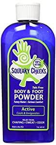 Squeaky Cheeks - All Natural Foot Powder - Sweat Powder That Will Prevent Blisters, Chafing, Rash, and Foot Odor - Squeaky Cheeks Foot and Body Powder - Active Blend