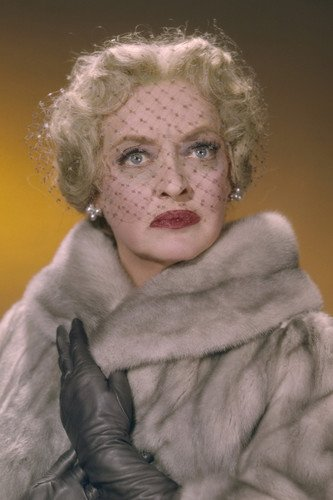Bette Davis mink stole leather glove face veil 11x17 Mini Poster