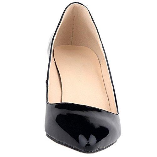 OCHENTA Mujer de color del caramelo punta estrecha mediana de tacon zapatos de la bomba de la PU Negro