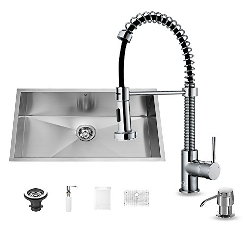 Satin Stainless Steel Kitchen Sink - VIGO 30 inch Undermount Single Bowl 16 Gauge Stainless Steel Kitchen Sink with Edison Chrome Faucet, Grid, Strainer and Soap Dispenser