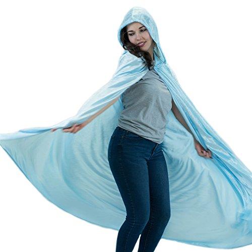 Everfan Light Blue Hooded Cape | Cloak with Hood for Halloween, Cosplay, Costume, Dress Up ()