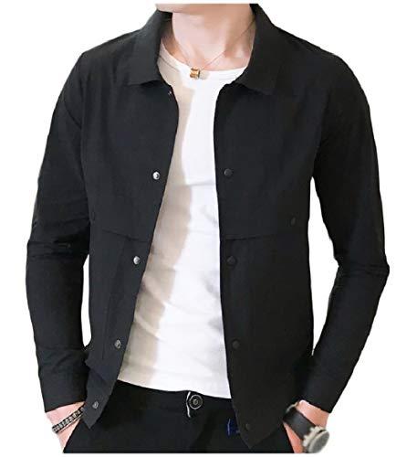 Black Lightweight Collar Turn Casual Coats Short Howme Jacket Down Button Men vHYxqa