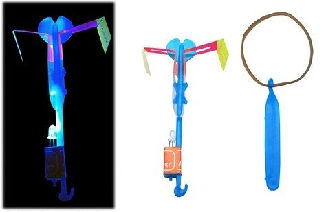 NUNEZ LED Light Helicopter Sling Shot (Glow In The Dark Toy Parachute)