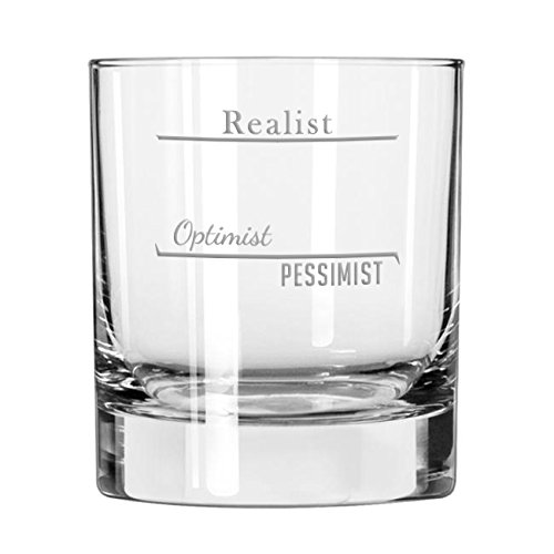 Realist - Optimist - Pessimist Old Fashioned Scotch Whiskey Glass by Cheers:30