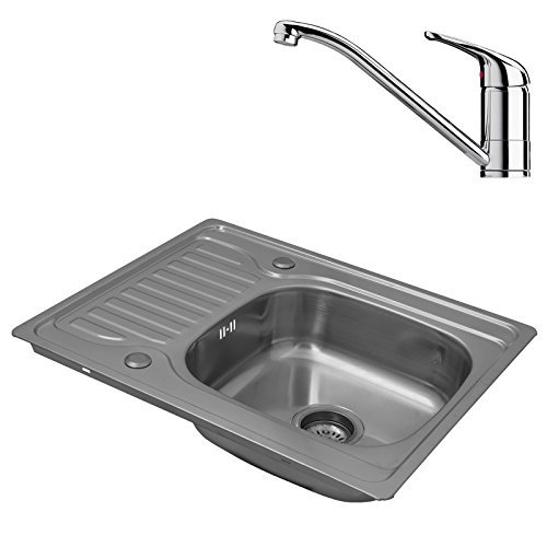 ENKI Compact Single Bowl Inset Square Stainless Steel Kitchen Sink with Drainer and Tap