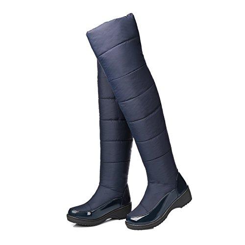 AgooLar Damen Hoch-Spitze Weiches Material Mittler Absatz Rund Zehe Stiefel mit Metallisch Blau
