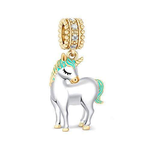 Gold Unicorn Charm - GNOCE Women's Unicorn Charm 925 Sterling Silver Charm Bracelets for women Fit European Bracelets Gift