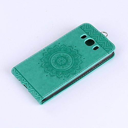 Funda para Samsung Galaxy J5(2016), Samsung J510F Carcasa Cuero, CLTPY [2 en 1, Separable] Cubierta de Billetera Estilo Libro con Diseño de Mandala 3D para Samsung Galaxy J5(2016)/J510F + 1 x Lápiz Gr Verde B