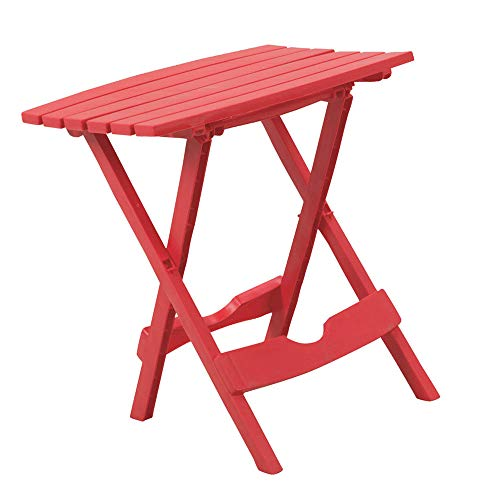 Collapsible Coffee Table Folding Square Indoor Outdoor Lightweight Red Plastic Camping Pic NIC Fishing Balcony Backyard Swimming Pool Side Small Patio Cafeteria & e-Book ()