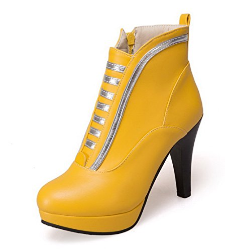 AllhqFashion Damen Reißverschluss PU Leder Hoher Absatz Reißverschluss Rund Zehe Stiefel, Gelb, 36