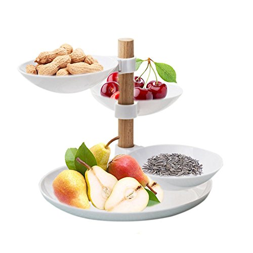 PROKTH European Minimalist Style Home Tiered Accessory Fruit Snacks Tray Living Room Desktop Storage Basket Four Layers Fruit Candy Tray for Parties Wedding Buffet Rack Shelf by PROKTH
