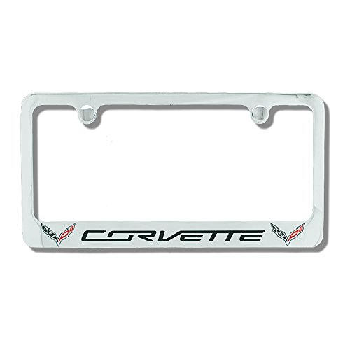 C7 Corvette Stingray Chrome License Plate Frame w/Double Logo