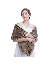 HailieBridal Sleeveless Brown Faux Fur Wedding Bridal Stole