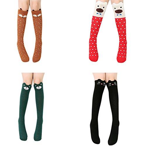 Girl Knee High Socks Kids Girls Over Calf Cotton Knit Cartoon School Dress Tube Stockings 4Pairs