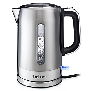 Brewberry Cordless Electric Kettle 1.7l, Stainless Steel Tea Kettle, Hot Water Pot w/Auto Shut-Off Function and Boil-Dry Protection, For Office and Home Use, 1.7 Liter