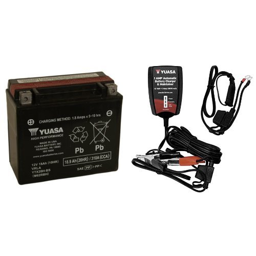 Yuasa YUAM62RBH YTX20H-BS Battery and Automatic Charger Bundle