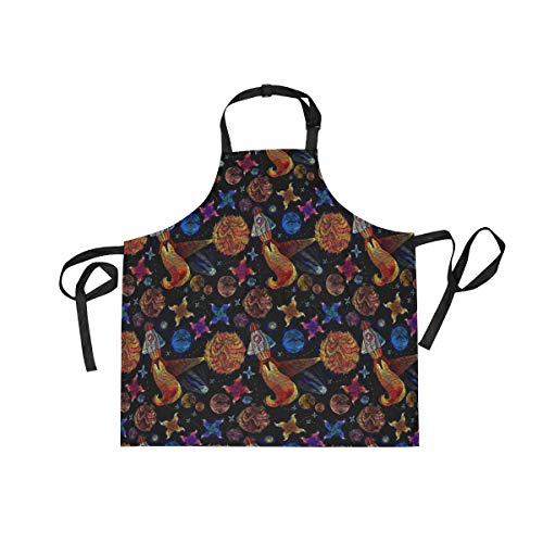 DOPKEEP Solar Galaxy Space Bib Apron Adjustable Size Kitchen Apron with Pockets and Extra Long Ties for Women and Men Home Chefs Cooking Gardening BBQ by DOPKEEP