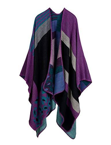 IDEALSANXUN Women's Oversized Poncho Cape Shawl Ruana Wrap Sweater Cardigan (Color 3, One Size)
