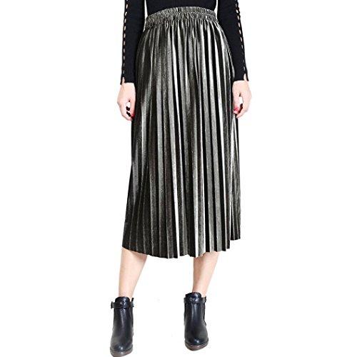 Jupes 2018 Mode Jupe Jupe Taille Verte Haute Vintage Longues FNKDOR Jupe Plisse Nouvelle Femmes Arme ganxaZz
