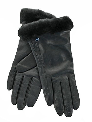 UGG Womens Classic Leather Smart Glove, Black, Medium by UGG