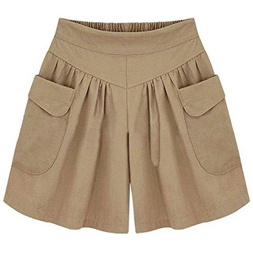 Pantaloncini con Corti Gamba Unita Cachi ShallGood Tasca Larga Tinta Shorts Pants Casual Bermuda Hot Moda Pantaloni Donna Estate YnnqBwvxaA