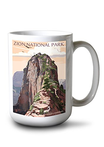 Zion National Park Usa Framed (Zion National Park, Utah - Angels Landing and Condors (15oz White Ceramic Mug))